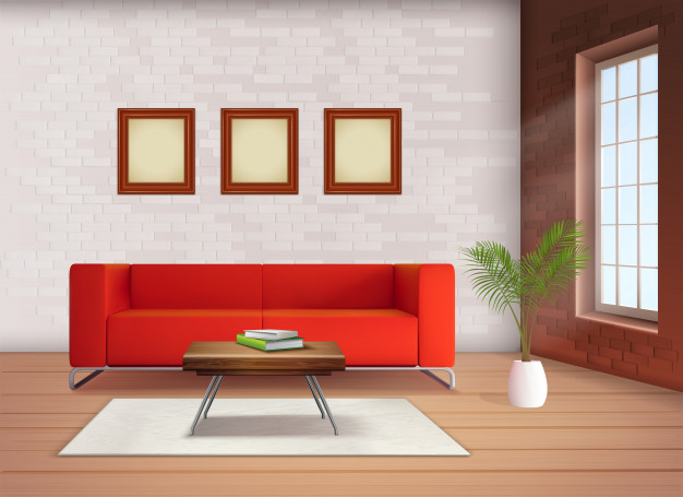 contemporary home interior design element with red sofa accent neutral colored living room realistic illustration 1284 28238