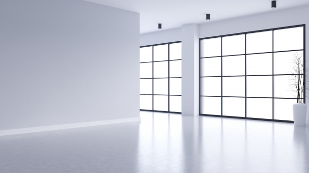 modern empty living room interior white wall concrete floor with black frame window 33739 384